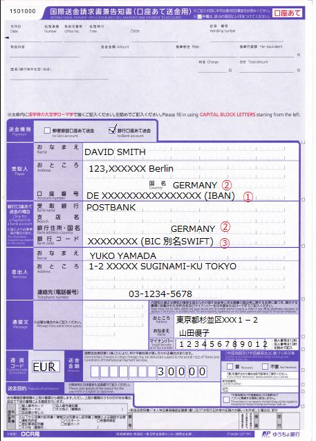 ゆうちょ国際送金記入例(ドイツ)