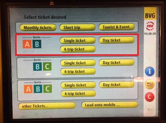 ベルリンBVG交通チケット(英語)